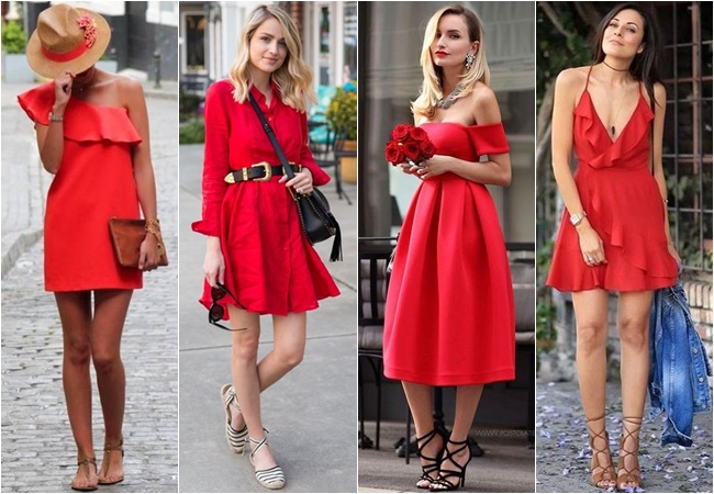 COMMENT PORTER LA ROBE ROUGE EN ETE