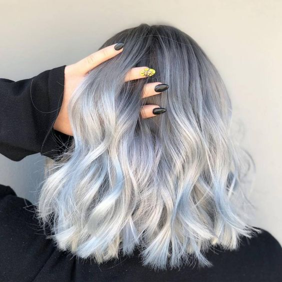 balayage blong argente blond gris