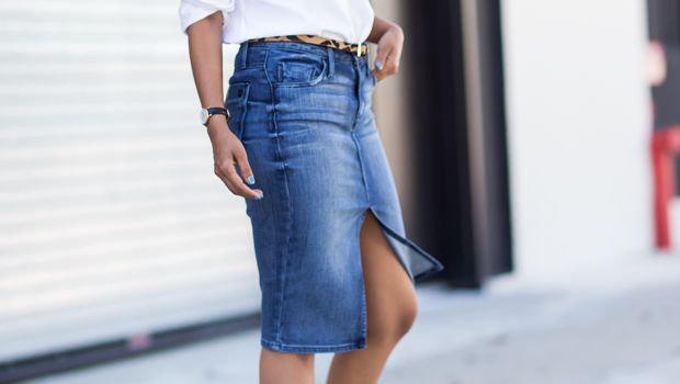 jupe crayon en jean