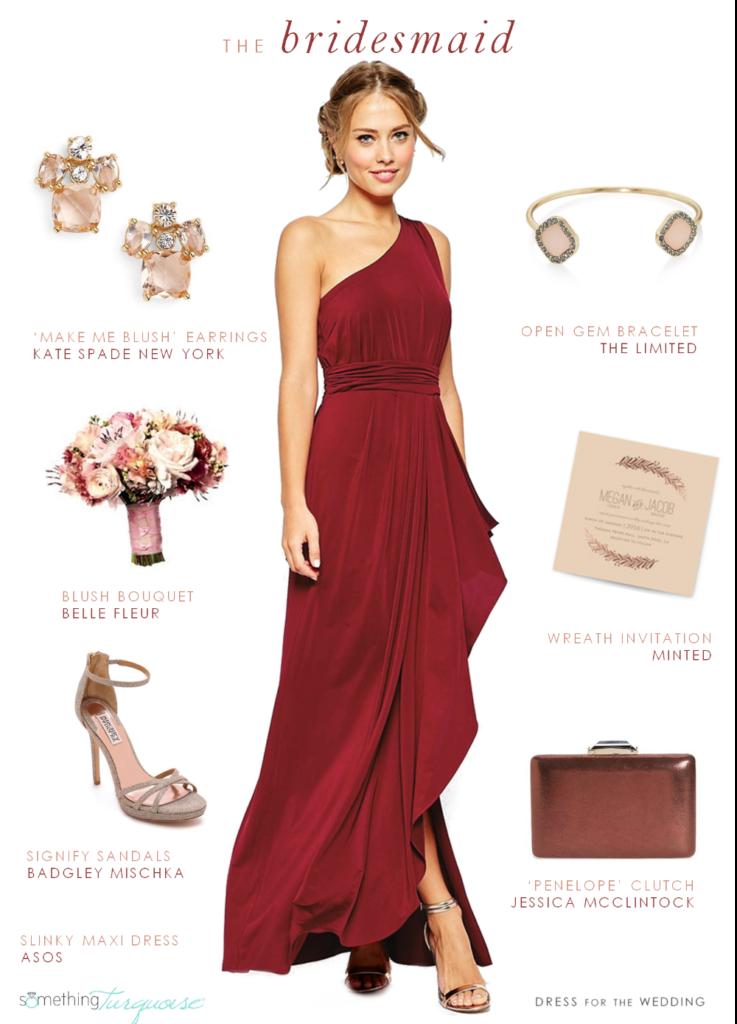 robe de demoiselle dhonneur rouge et accessoires nude