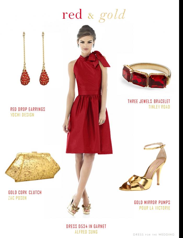 robe rouge et accessoires et chaussures or