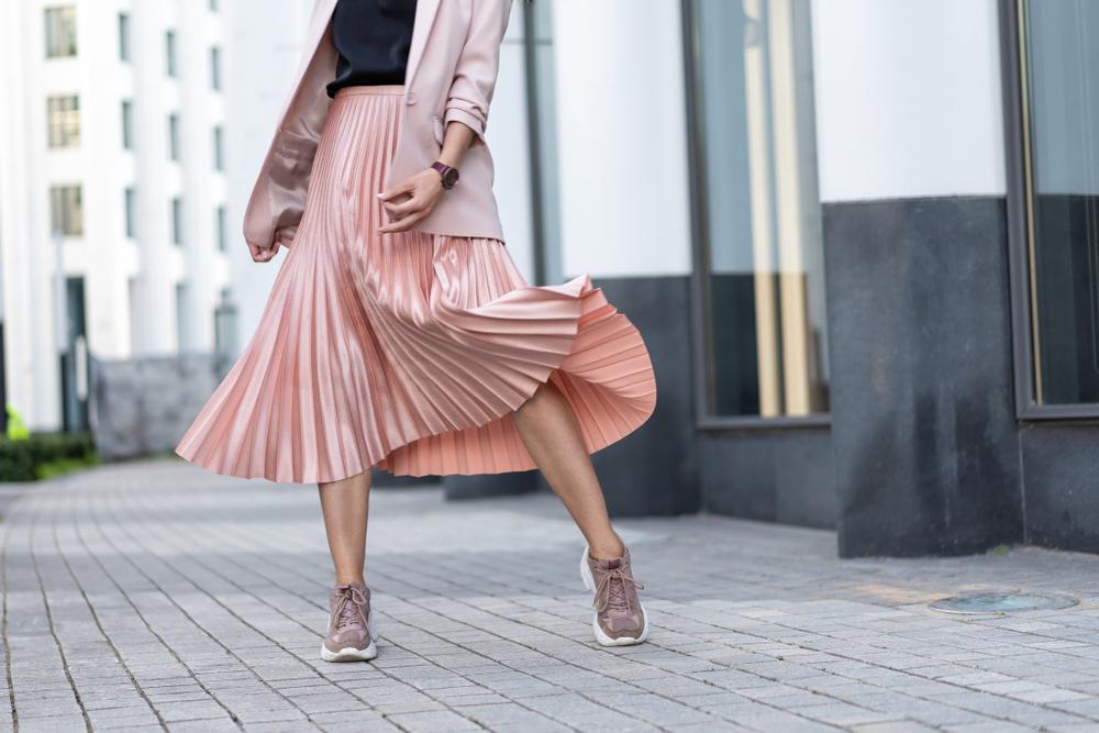 jupe plissée lamé