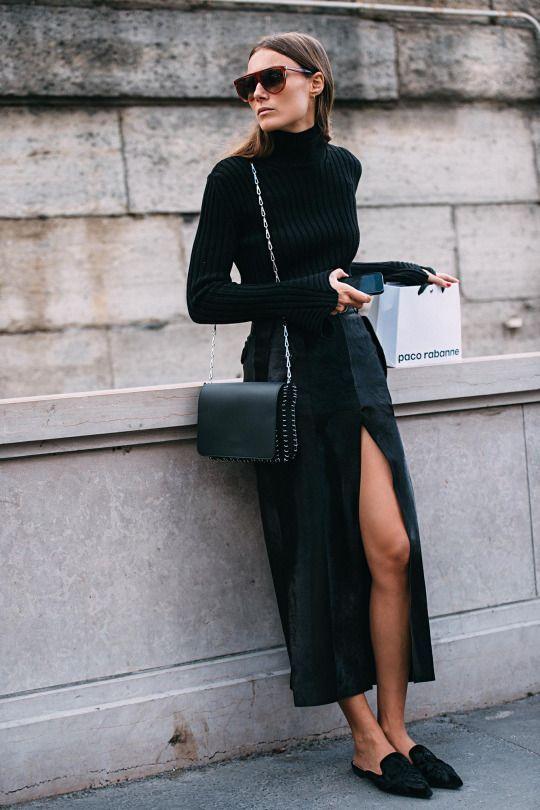 jupe longue noire fendue