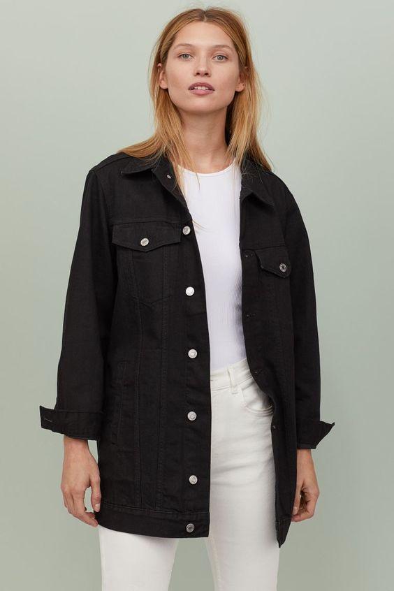 veste jean noire longue