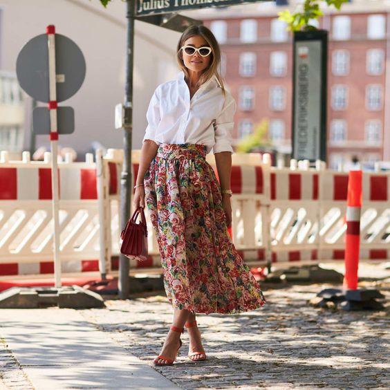 jupe longue bohème à fleurs