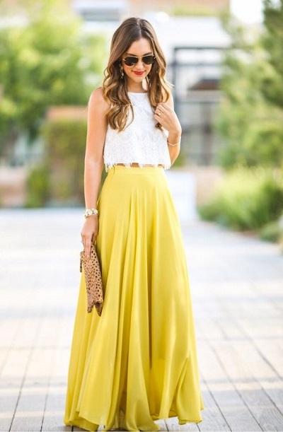 jupe longue bohème jaune