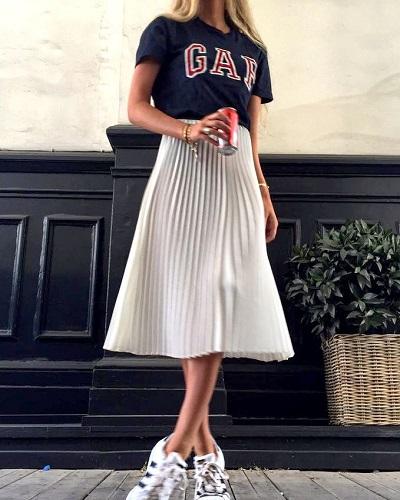 jupe blanche midi plissée